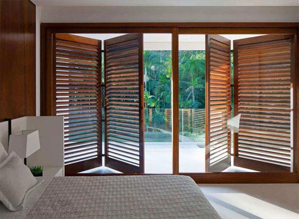balcony Bifold Wooden Shutter Doors
