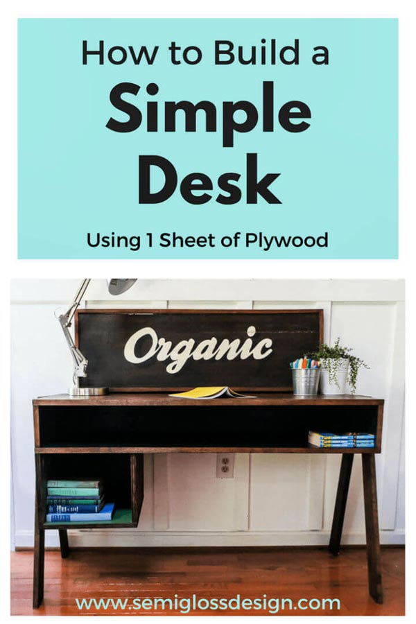 Simple Desk Using One Sheet Of Plywood